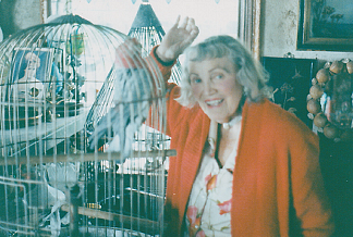 Gladys with her feathered friend.