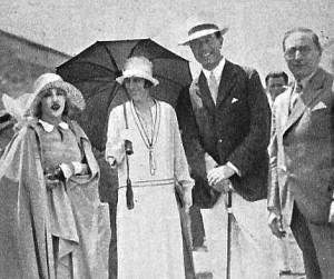 The day in July 1926 that Mae (L) injected herself into the crown prince and princess of Sweden's visit to MGM.  Mae and  Louis B. Mayer are shown on either side of the royals.
