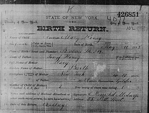 Mae's birth certificate