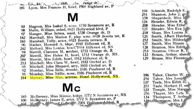 1916 census showing Mae living at Hotel Hollywood.