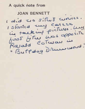 I asked Joan whether she ever made silent films.