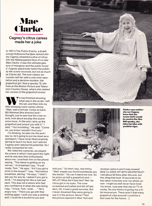 The delightful Mae Clarke in People  magazine.