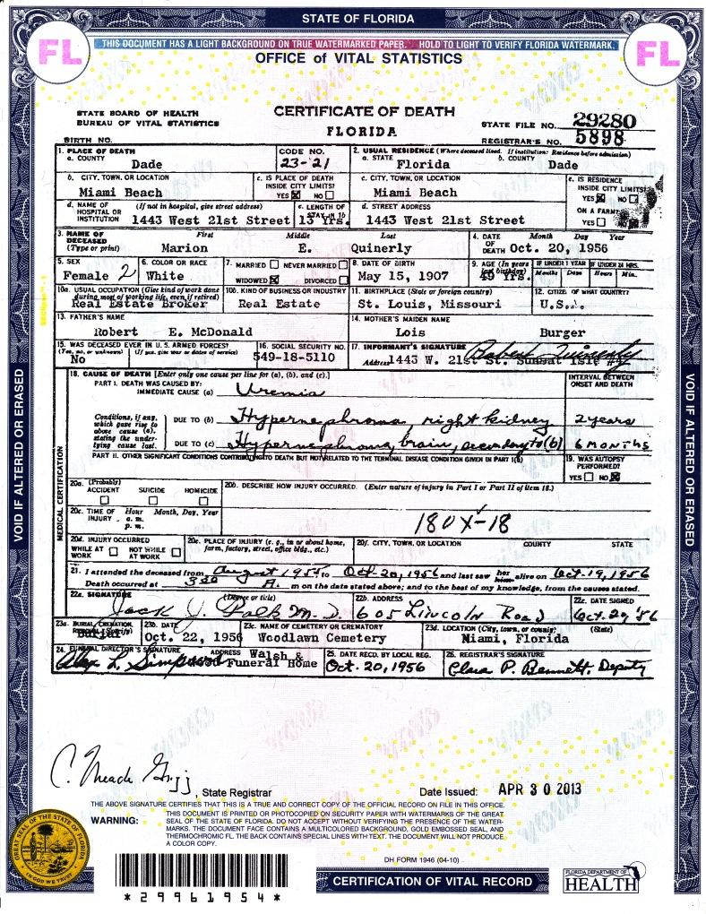 Marion McDonald's death certificate