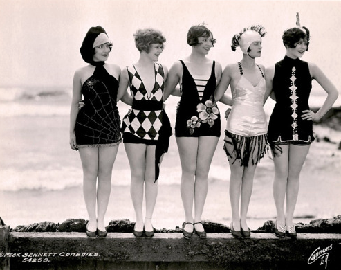Marion McDonald (R) with other Sennett Bathing Beauties.
