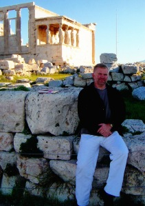 Here I am in at the Acropolis with the maidens behind me.