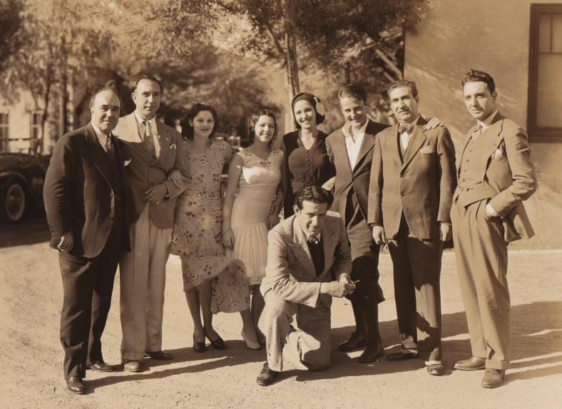 Margot Peza, granddaughter of the Mexican poet visits the set of Dracula.  Pictured (L-R) are Soriano Viosca, Carlos Villarias, Carmen Guerrero, Lupita, Margot Peza, Enrique Avales, Barry Norton, Eduardo Arozamena, and Alvarez Rubio