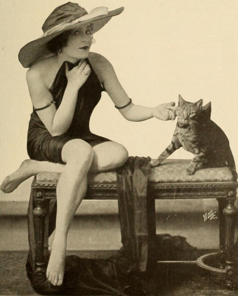 Marie Wayne and her kitty pal