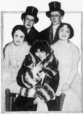 Balboa leading ladies (l-r) Marie Wayne, Lois Meredith, and Bliss Milford are pictured with George Seity (scenario editor) and George A. Smith (serial director).