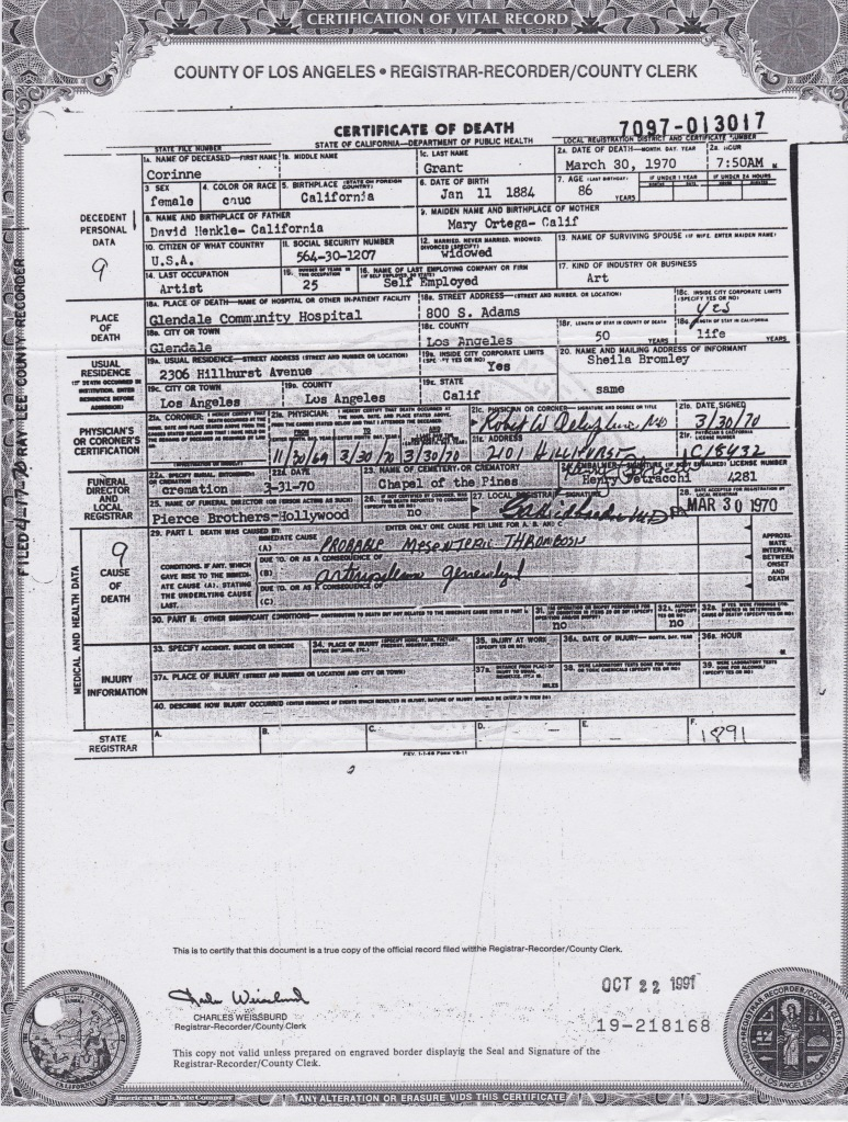 Corenne Grant's death certificate
