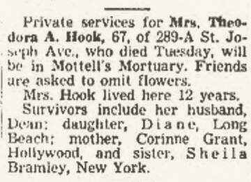 Obit for Corenne's daughter, Theodora Hook, May 1951