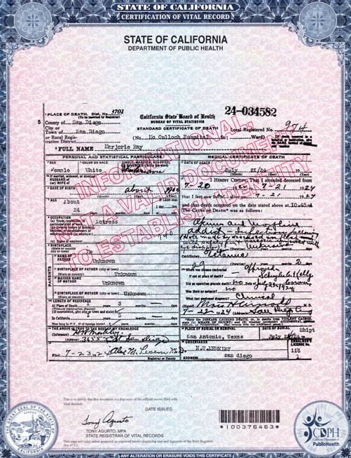 Marjorie's death certificate