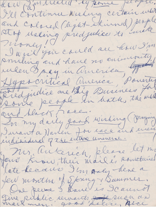 Handwritten comments by Butterfly McQueen
