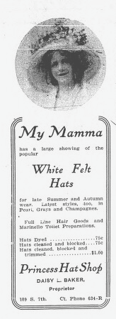Maurine modeling one of Daisy's hats in a 1910 newspaper ad.