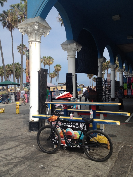 In Venice Beach, taking  a rest from my bike ride