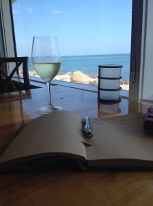 Journaling at Duke's along the coast in Malibu