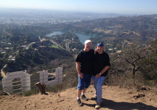 Charlie and Michael high above Hollywood