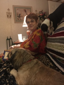 Mom on Christmas Day 2015 with Lucinda and FeFe