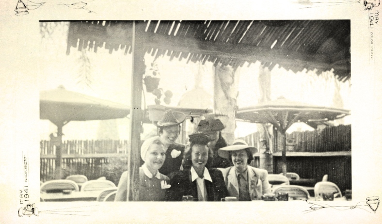 Lenore with Margaret Lindsay (center) and Tove Blue at The Tropics, Beverly Hills, about 1939.